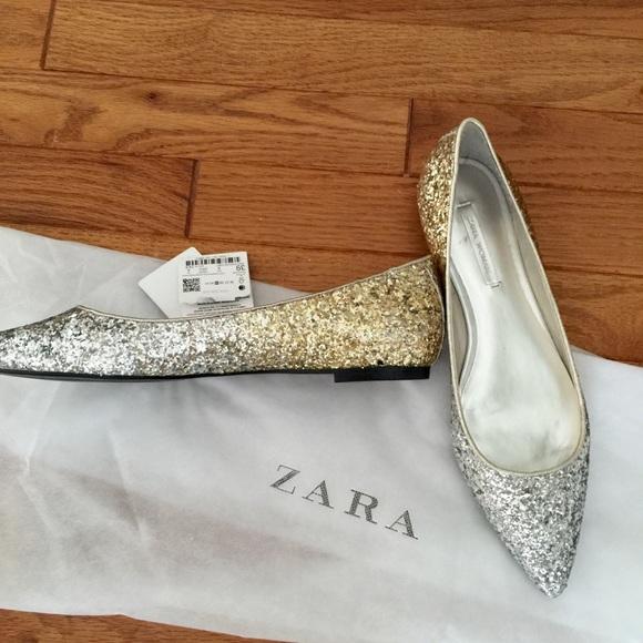 b6f483a360b5 Zara Glitter Pointed Ballet Flats Silver   Gold