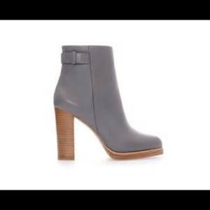 Zara grey leather ankle boots