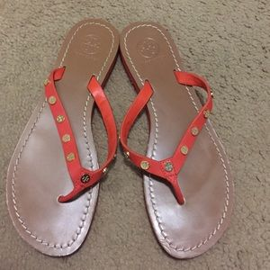Tory Burch orange leather sandals, 9, EUC