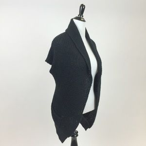 Catwalk Studio Sweaters - Black Knitted Cocoon Cardigan Sweater