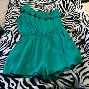 Teal one shoulder romper