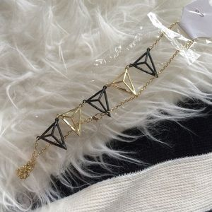 Jewelry - Black and gold triangle necklace