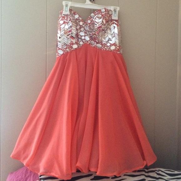 Modern Maids Dresses Coral Short Formal Dress Beaded Top Poshmark