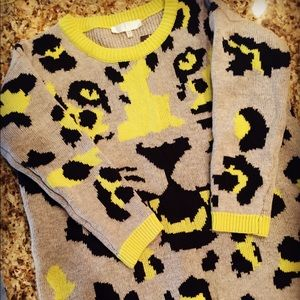 Animal Print Double Knit Long Sweater