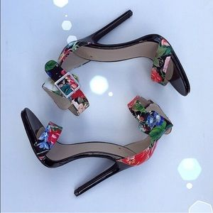 Shoes - Floral ankle strap heels