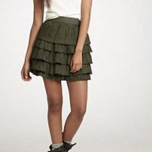 J.Crew Olive Green Tiered Crinkled Silk Mini Skirt