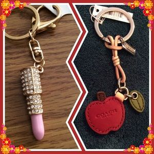 COACH and key fobs , one Apple, one lipstick