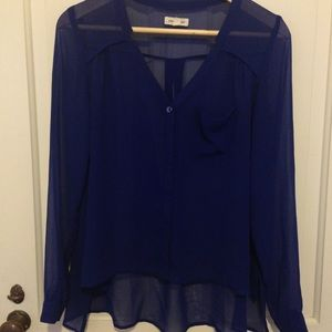 Urban outfitters dark blue sheer blouse