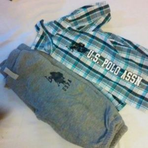 Other - U.S Polo Assn Checkered Shirt & Joggers