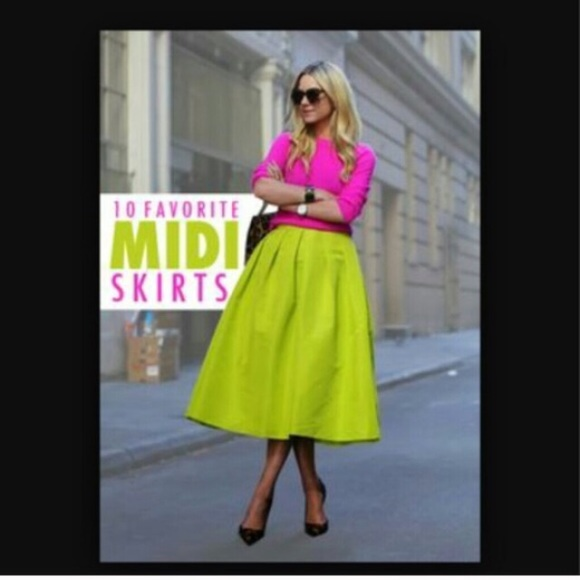 97 dresses skirts neon green pleated midi skirt