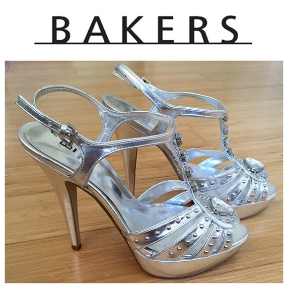 85 bakers shoes bakers silver studded heels from