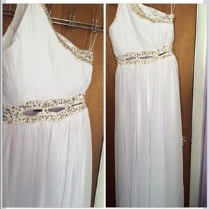 White Prom Cutout Dress