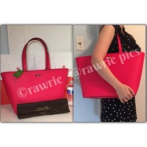 New Kate Spade large pink saffiano leather tote
