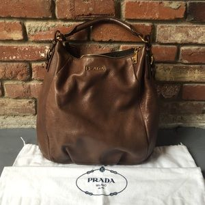 prada purses brown leather