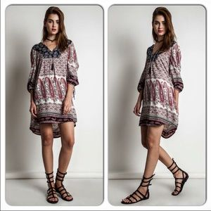 Free Spirit Gypsy Boho Nomad Paisley Tunic Dress S