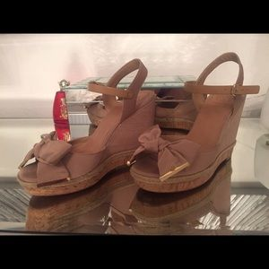 27e081d3138 Tory Burch Shoes - Tory Burch Penny Faille Bow Wedge- love these😍
