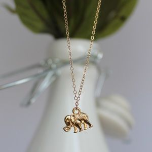 Gold Filled Elephant Charm Necklace