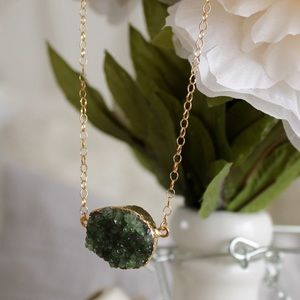 Green Druzy Quartz Gold Filled Necklace