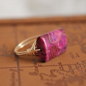 Ruby Agate Stone Ring