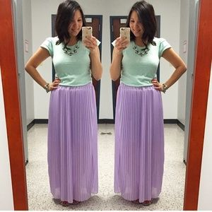 Lavender Skirt Maxi Pleaded
