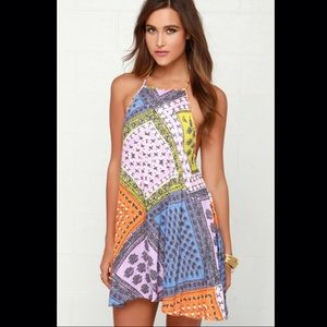 Mink Pink Sunset Patchwork Halter Dress
