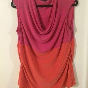 Tops - Color Block Hot Pink & Orange Work Cowl Top