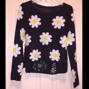 Material Girl Tops - Distressed 90s vibe Daisy Sweater - Macy's