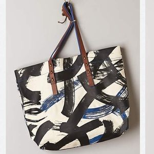 Anthropologie Canvas and leather tote