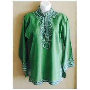 J. Crew Kelly Green Cotton/Linen Embroidered Tunic