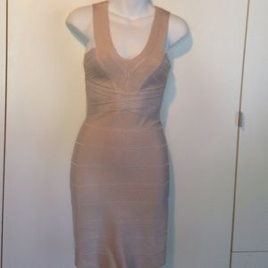 Bebe Bodycon Dress Beige Small