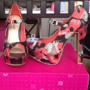 Shoedazzle Natala Peep Toe Floral Mary Janes