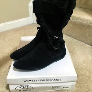 Steve Madden black suede slouch boots
