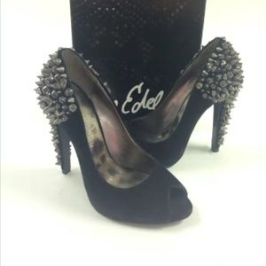 Sam Edelman 'Lorissa' black suede studded pumps