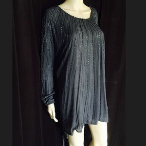 Gold Hawk Silk Beaded Tunic / Dress / Coverup XS