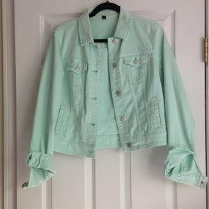 American Eagle mint denim jacket