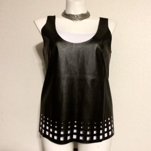 🍬Faux Leather Perforated Plus Top