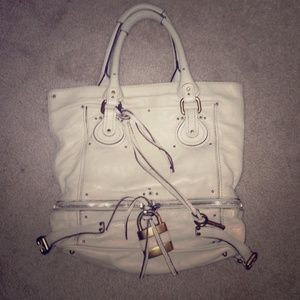 63% off Chloe Handbags - White pebble leather authentic Chloe ...