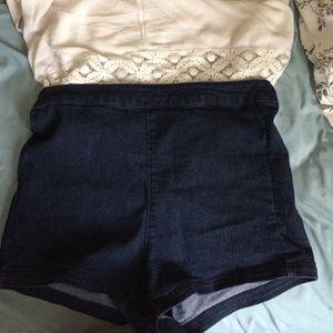 High waisted denim shorts!