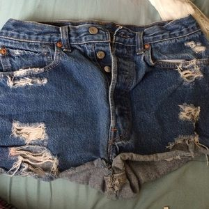 High waisted destroyed shorts