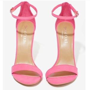 Pink suede single strap heels💋🌺👠