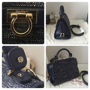Salvatore Ferragamo Bags - Ferragamo Oxford Blue Borsa Sofia Denim Satchel 3730b67555dd3