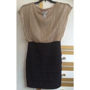 Sweet Storm Dresses & Skirts - Black and Gold Colorblock Dress