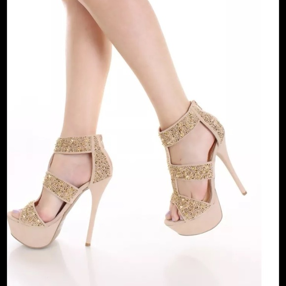 40% off Liliana Shoes - Nude beige &amp gold strappy heels pageant