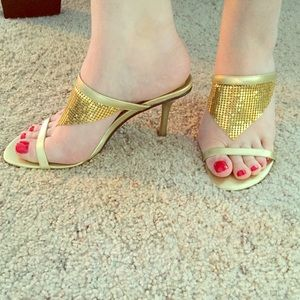 Michael Antonio Gold Metal Mesh Heels 7