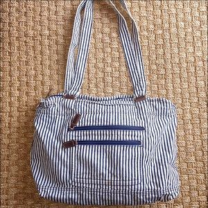 Handbags - White And Blue Striped Canvas Bag Large