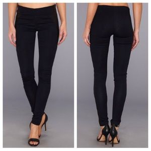 Black Leather Contrast Leggings