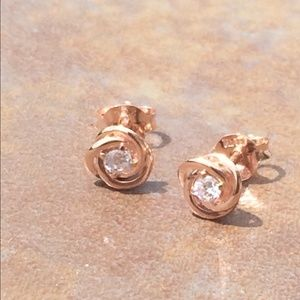 Rose Gold Plated Sterling Silver CZ Love Knot Stud