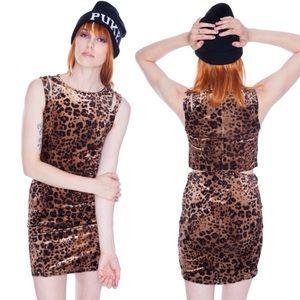 UNIF Nightcat Cut-out Velvet Leopard Bodycon Dress