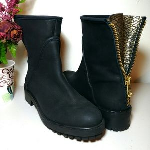 Zara Leather Navy/Black Boots 6