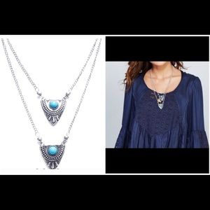 Jewelry - NWT! Layered turquoise tribal pendant necklace